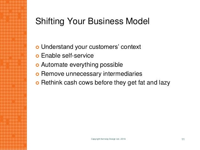 Shifting Your Business Model  Understand your customers' context  Enable self-service  Automate everything possible  R...