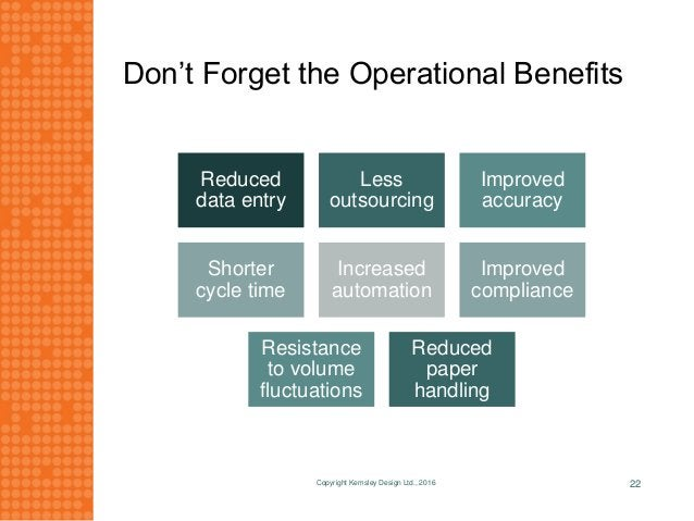 Don't Forget the Operational Benefits Reduced data entry Less outsourcing Improved accuracy Shorter cycle time Increased a...