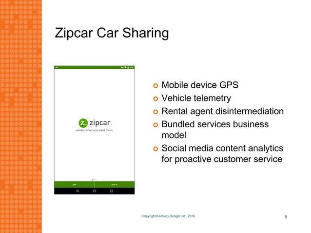 Zipcar Car Sharing Copyright Kemsley Design Ltd., 2016 5  Mobile device GPS  Vehicle telemetry  Rental agent disinterme...