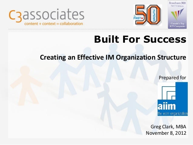 Built For SuccessCreating an Effective IM Organization Structure                                              Prepared for...