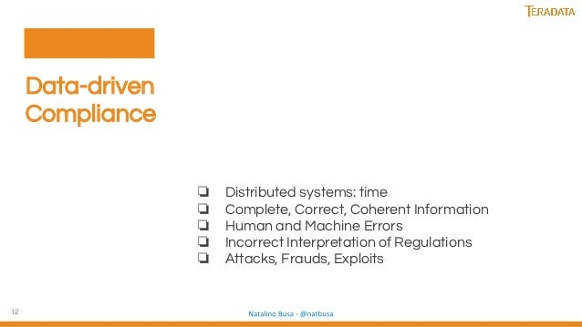 12 Data-driven Compliance ❏ Distributed systems: time ❏ Complete, Correct, Coherent Information ❏ Human and Machine Errors...