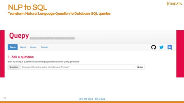 20 NLP to SQL Transform Natural Language Question to Database SQL queries