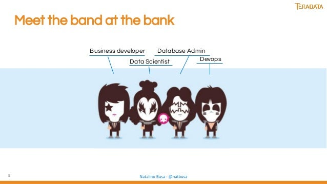 8 Meet the band at the bank Business developer Data Scientist Database Admin Devops
