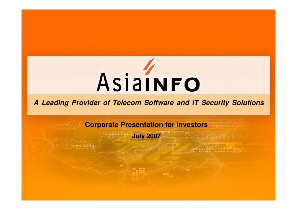 A Leading Provider of Telecom Software and IT Security Solutions                 Corporate Presentation for Investors     ...