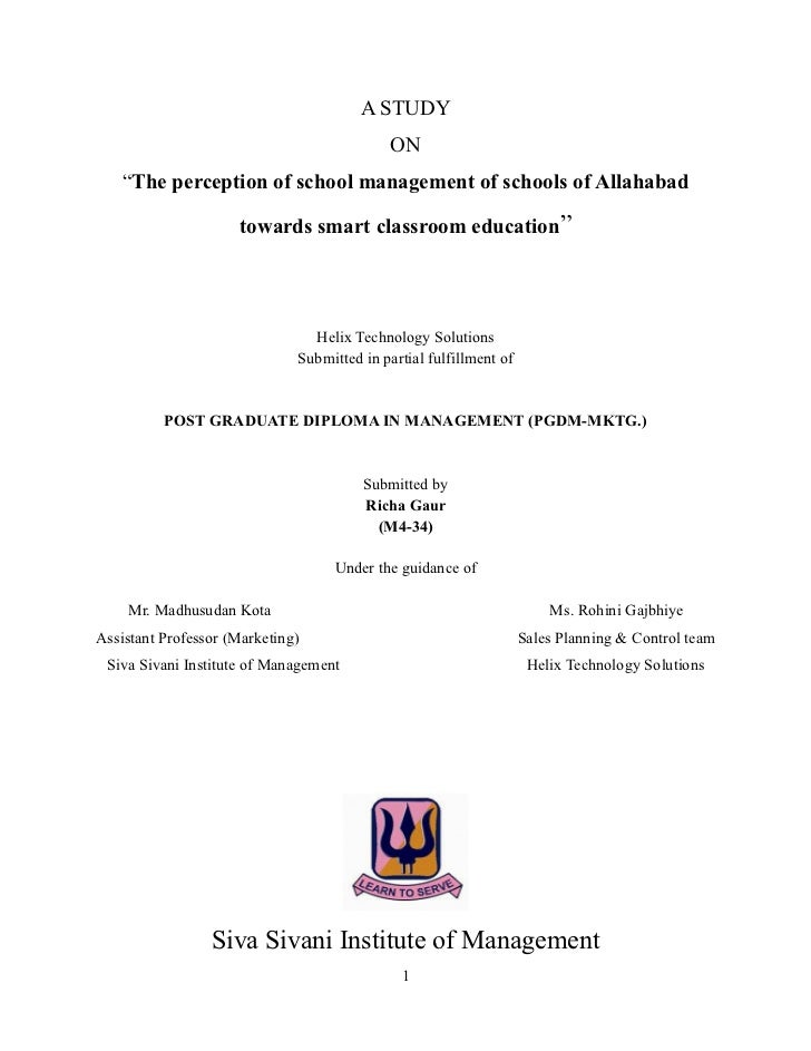 """A STUDY                                             ON   """"The perception of school management of schools of Allahabad     ..."""