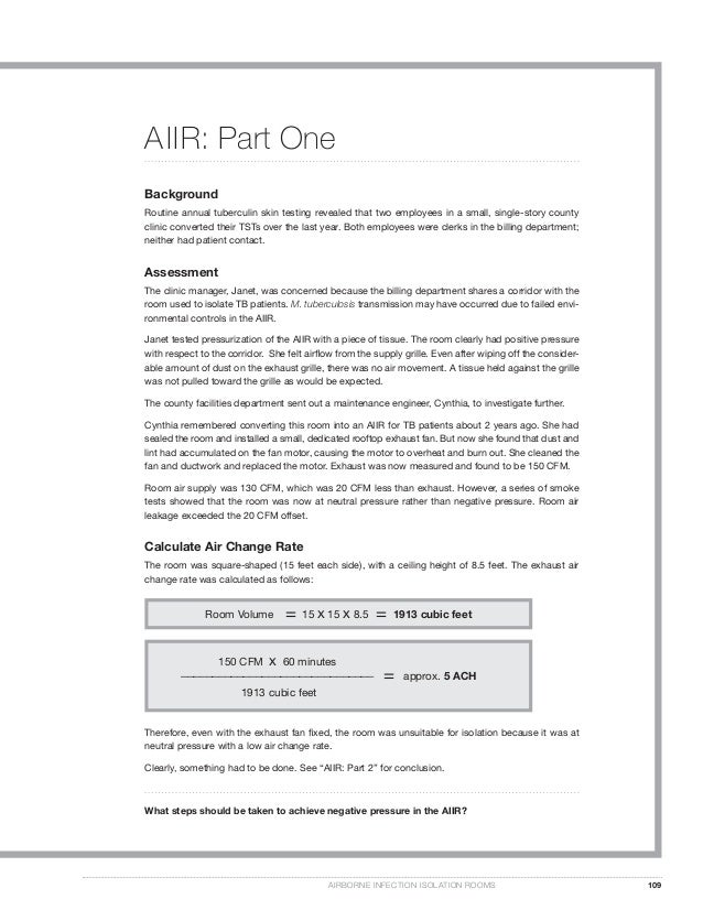 What steps should be taken to achieve negative pressure in the AIIR? AIRBORNE INFECTION ISOLATION ROOMS 109 AIIR: Part One...