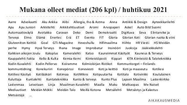 Mukana olleet mediat (206 kpl) / huhtikuu 2021 Aarre Advokaatti Aku Ankka Alibi Allergia, Iho & Astma Anna Antiikki & Desi...