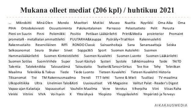 Mukana olleet mediat (206 kpl) / huhtikuu 2021 … Mikrobitti Minä Olen Mondo Moottori Motiivi Museo Nuotta Nyyrikki Oma Aik...