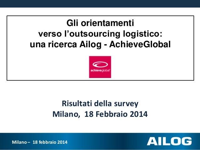Gli orientamenti verso l'outsourcing logistico: una ricerca Ailog - AchieveGlobal  Risultati della survey Milano, 18 Febbr...