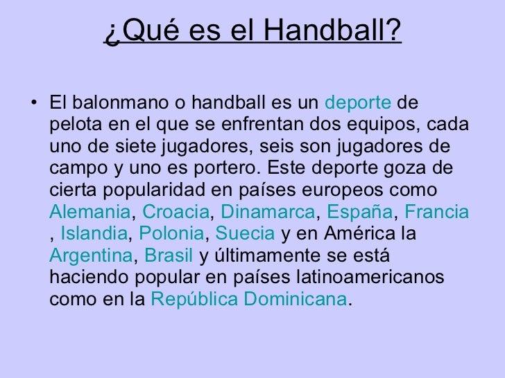 Handball - Como se sirve en la mesa ...