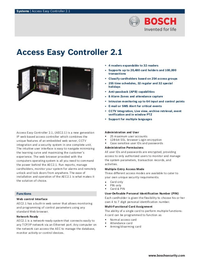 Systems | Access Easy Controller 2.1 Access Easy Controller 2.1, (AEC2.1) is a new generation IP web based access controll...