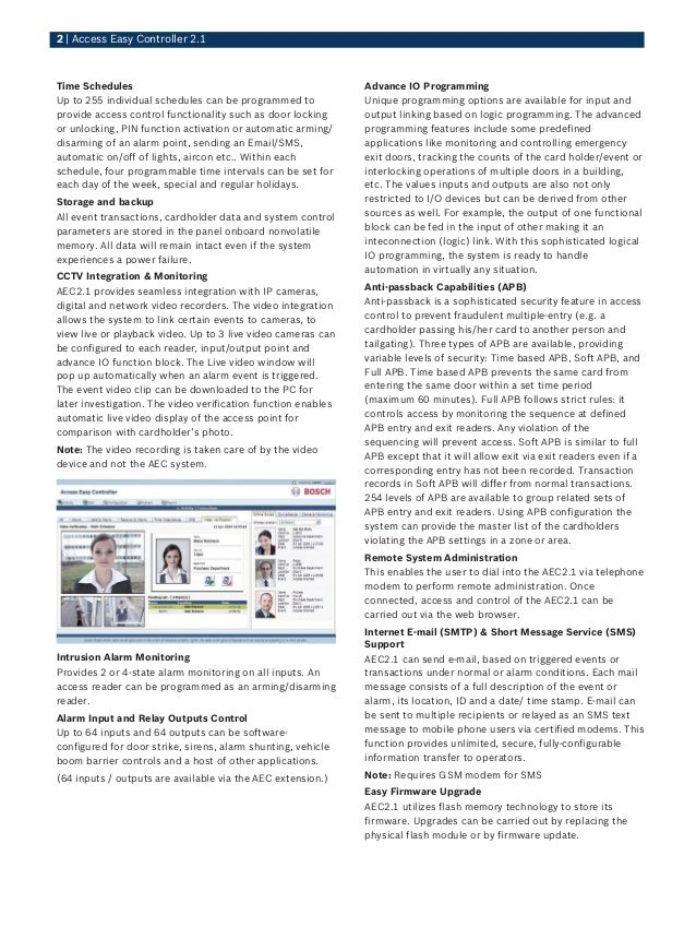 Bosch Aim Aec21 Cvt Data Sheet