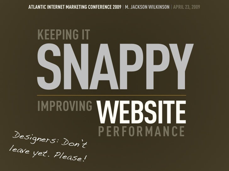 ATLANTIC INTERNET MARKETING CONFERENCE 2009 | M. JACKSON WILKINSON | APRIL 23, 2009              KEEPING IT           SNAP...