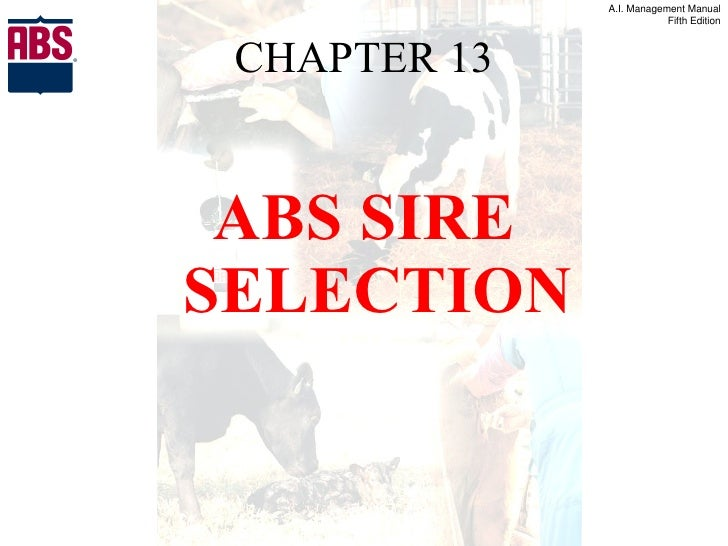 CHAPTER 13 <ul><li>ABS SIRE SELECTION </li></ul>