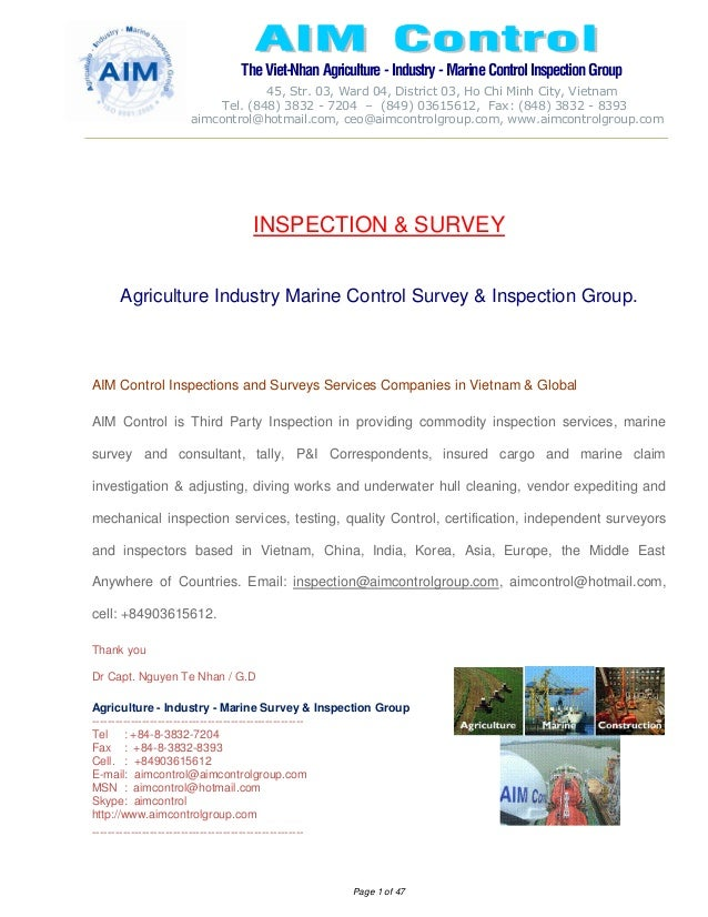 The Viet-Nhan Agriculture - Industry - MarineControl InspectionGroup 45, Str. 03, Ward 04, District 03, Ho Chi Minh City, ...