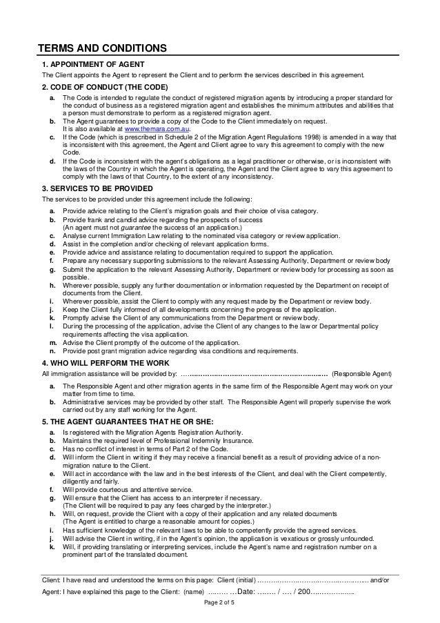 Migration Agentclient Agreement