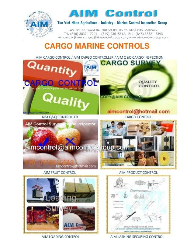 CARGO MARINE CONTROLS AIM CARGO CONTROL / AIM CARGO CONTROLLER / AIM Q&Q CARGO INSPECTION AIM Q&Q CONTROLLER CARGO CONTROL...