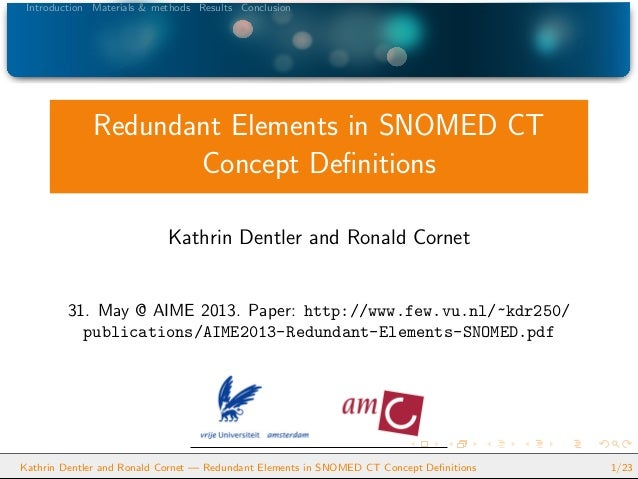 Introduction Materials & methods Results ConclusionRedundant Elements in SNOMED CTConcept DefinitionsKathrin Dentler and Ro...