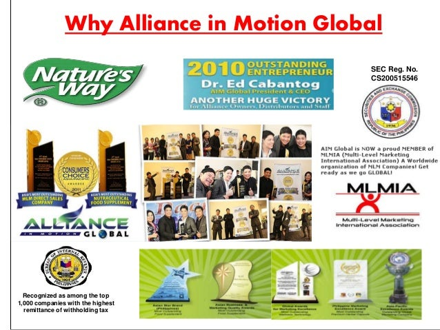 What makes Alliance in Motion Global, the No. 1 MLM company? SYSTEM  Management: • Has over 90 years of combined experien...