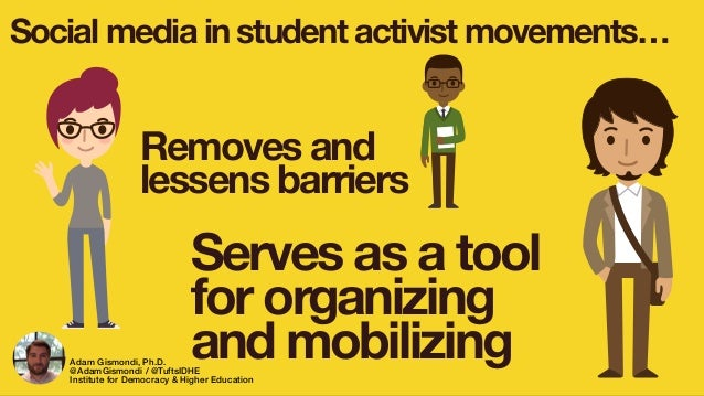 Social media in student activist movements… Removes and lessens barriers Serves as a tool for organizing and mobilizingAda...