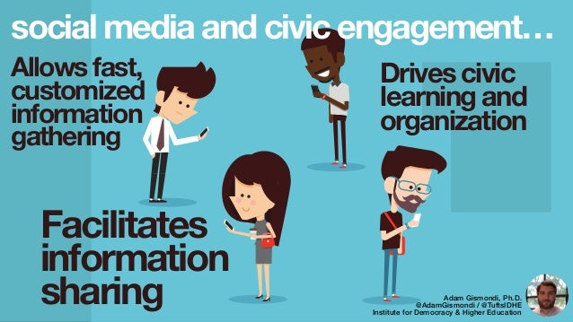 social media and civic engagement… Allows fast, customized information gathering Facilitates information sharing Drives ci...