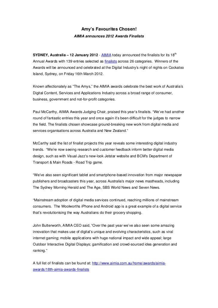Amy's Favourites Chosen!                           AIMIA announces 2012 Awards FinalistsSYDNEY, Australia – 12 January 201...