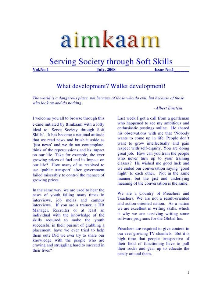Serving Society through Soft Skills Vol.No.1                             July, 2008                        Issue No.1_____...