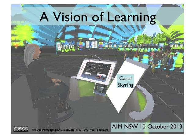 A Vision of Learning	   Carol Skyring	   http://opensimulator.org/wiki/File:Oscc13_001_002_grady_booch.png	   AIM NSW 10 O...
