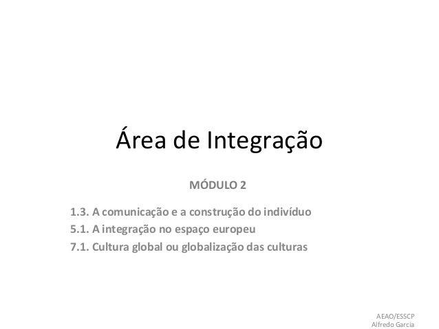 Área de Integração MÓDULO 2 1.3. A comunicação e a construção do indivíduo 5.1. A integração no espaço europeu 7.1. Cultur...