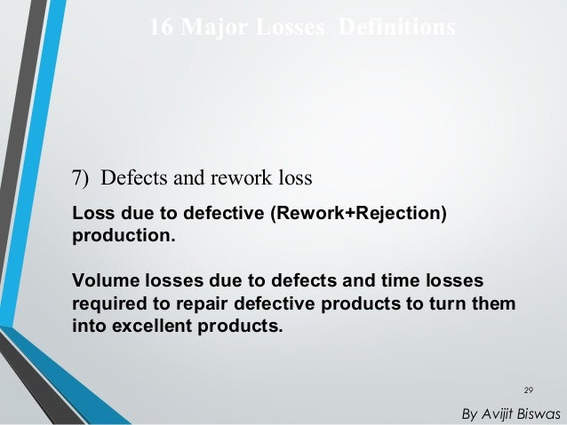 16 major losses identified by tpm Tpm an overview - free download as  3 pillars description 4 home work before implementing tpm 5 steps to implement 6  jipm has identified 16 major losses.