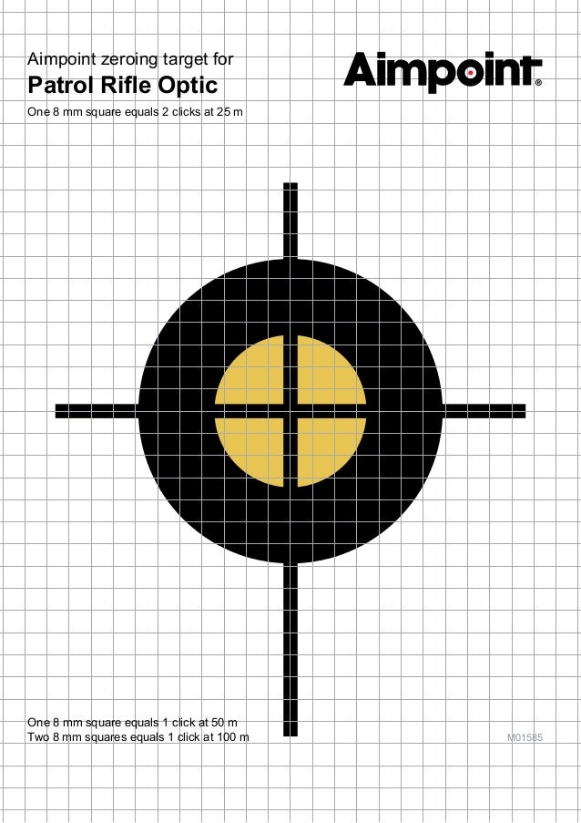 Aimpoint Zeroing Target For Patrol Rifle Optic Optics Trade