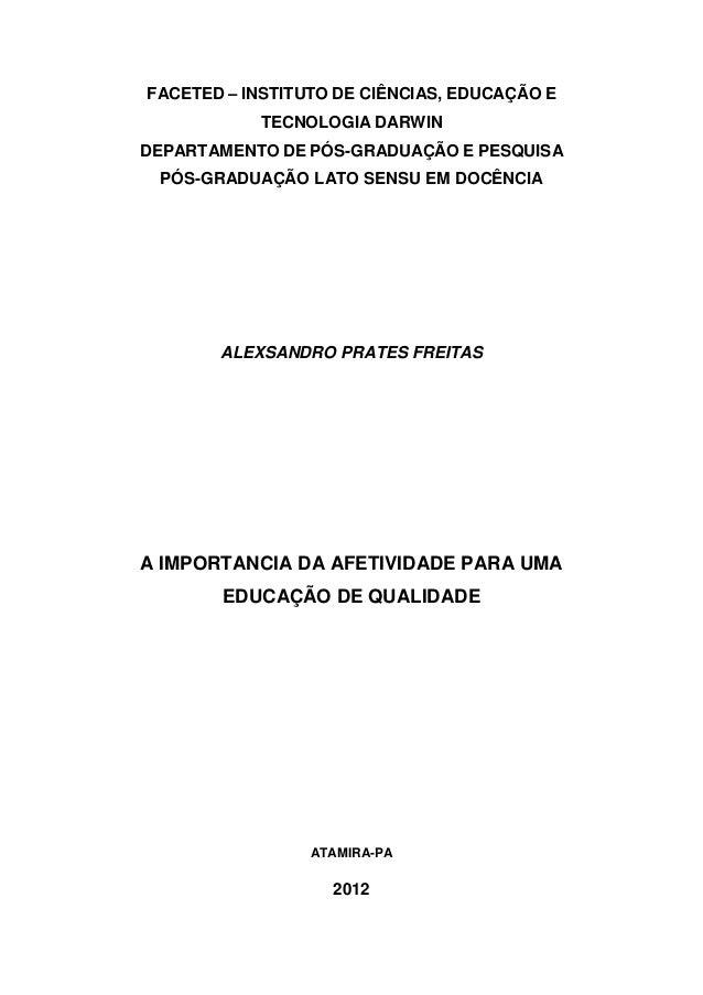 FACETED – INSTITUTO DE CIÊNCIAS, EDUCAÇÃO ETECNOLOGIA DARWINDEPARTAMENTO DE PÓS-GRADUAÇÃO E PESQUISAPÓS-GRADUAÇÃO LATO SEN...