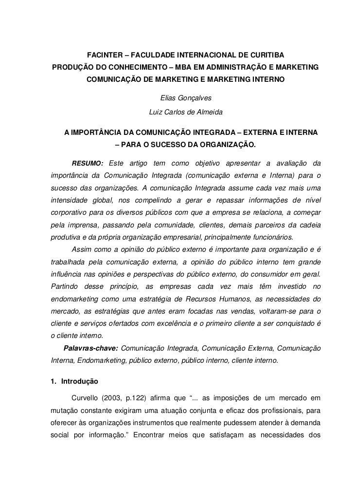 FACINTER – FACULDADE INTERNACIONAL DE CURITIBAPRODUÇÃO DO CONHECIMENTO – MBA EM ADMINISTRAÇÃO E MARKETING            COMUN...