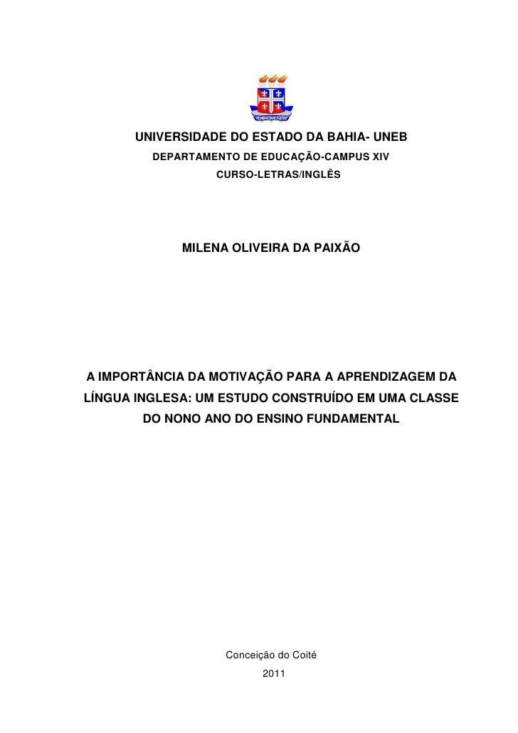 UNIVERSIDADE DO ESTADO DA BAHIA- UNEB         DEPARTAMENTO DE EDUCAÇÃO-CAMPUS XIV                  CURSO-LETRAS/INGLÊS    ...