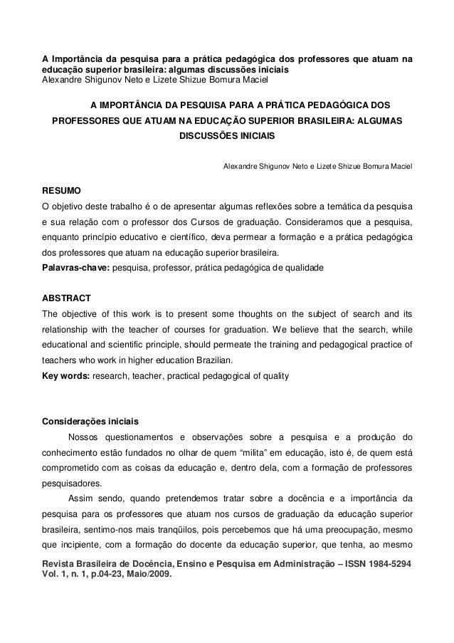 A Importância da pesquisa para a prática pedagógica dos professores que atuam na educação superior brasileira: algumas dis...