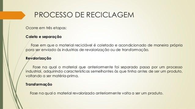 PROCESSO DE RECICLAGEM Ocorre em três etapas: Coleta e separação Fase em que o material reciclável é coletado e acondicion...
