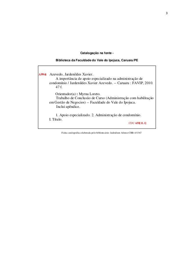 3  Catalogação na fonte Biblioteca da Faculdade do Vale do Ipojuca, Caruaru/PE  A994i  Azevedo, Jardenildes Xavier. A impo...