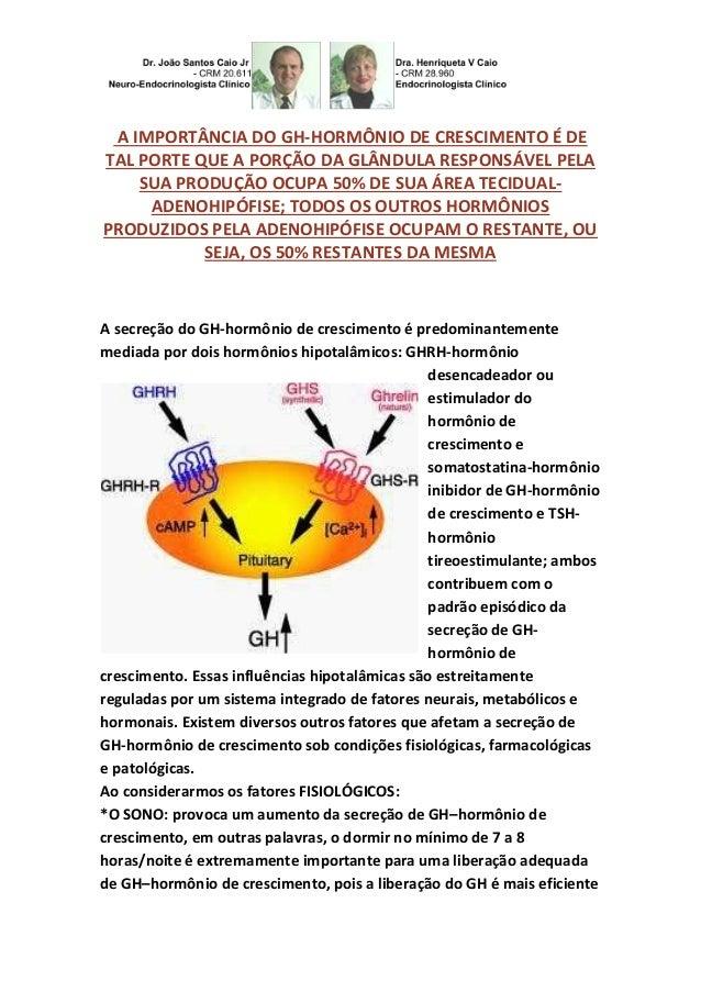 A IMPORTÂNCIA DO GH-HORMÔNIO DE CRESCIMENTO É DE  TAL PORTE QUE A PORÇÃO DA GLÂNDULA RESPONSÁVEL PELA  SUA PRODUÇÃO OCUPA ...