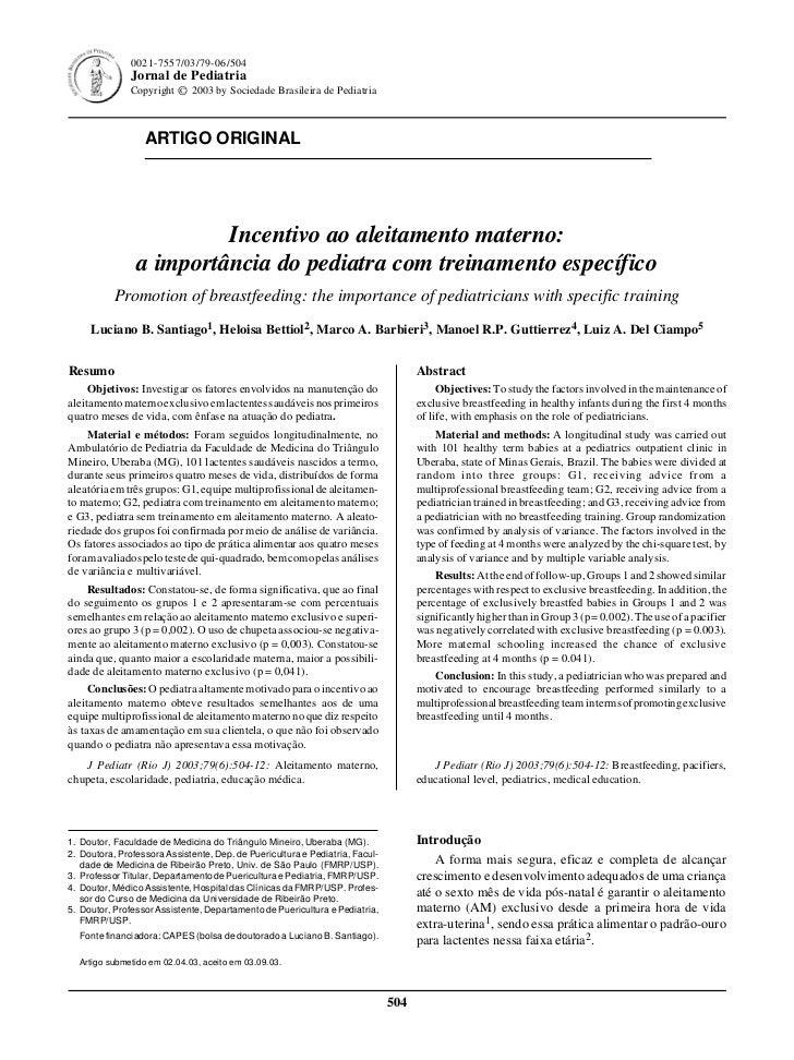 0021-7557/03/79-06/504               Jornal de Pediatria               Copyright © 2003 by Sociedade Brasileira de Pediatr...