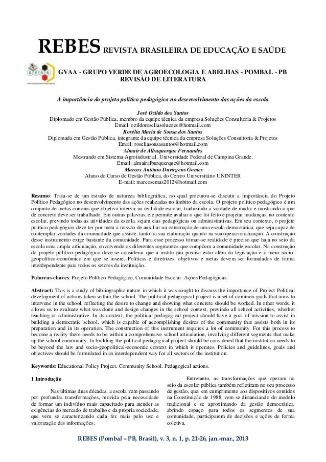 REBES (Pombal – PB, Brasil), v. 3, n. 1, p. 21-26, jan.-mar., 2013 REBESREVISTA BRASILEIRA DE EDUCAÇÃO E SAÚDE GVAA - GRUP...