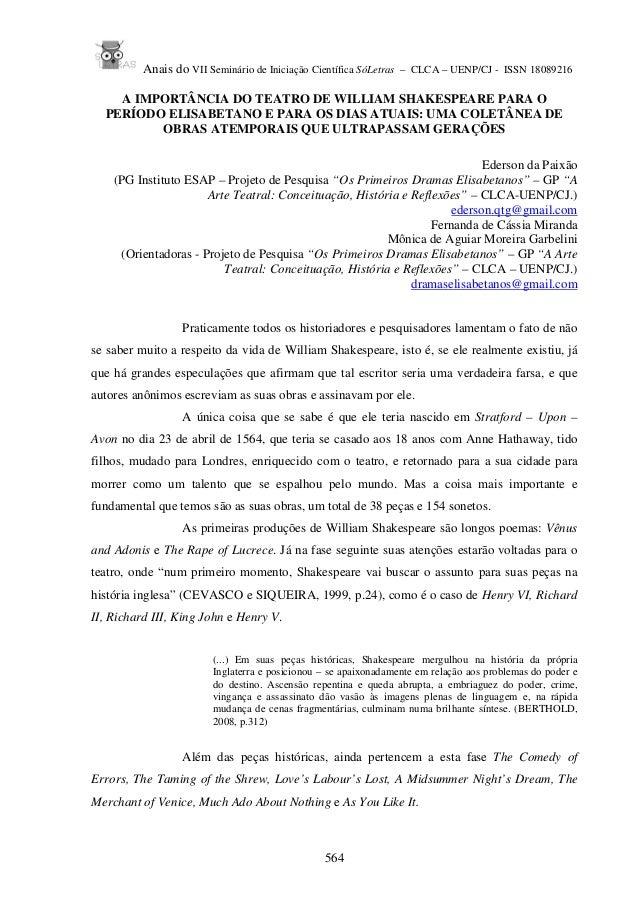 Anais do VII Seminário de Iniciação Científica SóLetras – CLCA – UENP/CJ - ISSN 18089216 564 A IMPORTÂNCIA DO TEATRO DE WI...