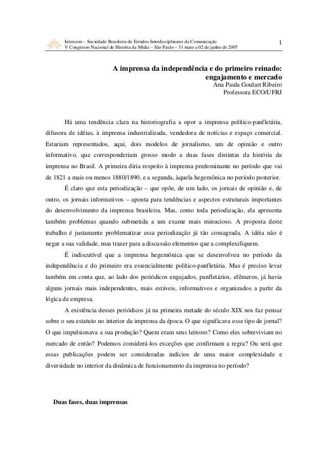 Intercom – Sociedade Brasileira de Estudos Interdisciplinares da Comunicação V Congresso Nacional de História da Mídia – S...