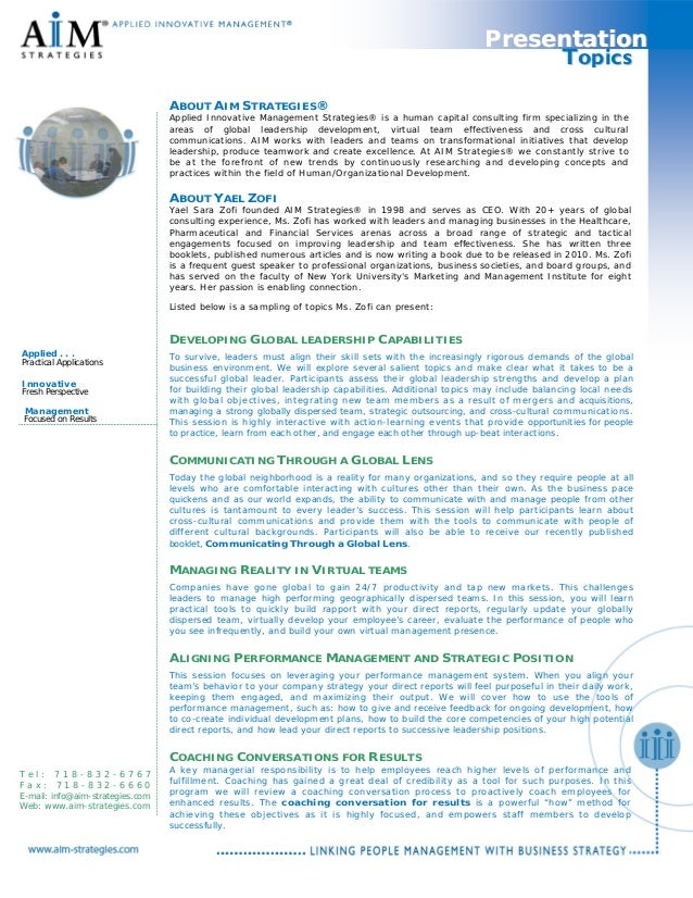 GlobaLeaderTm ABOUT AIM STRATEGIES® Applied Innovative Management Strategies® is a human capital consulting firm specializ...
