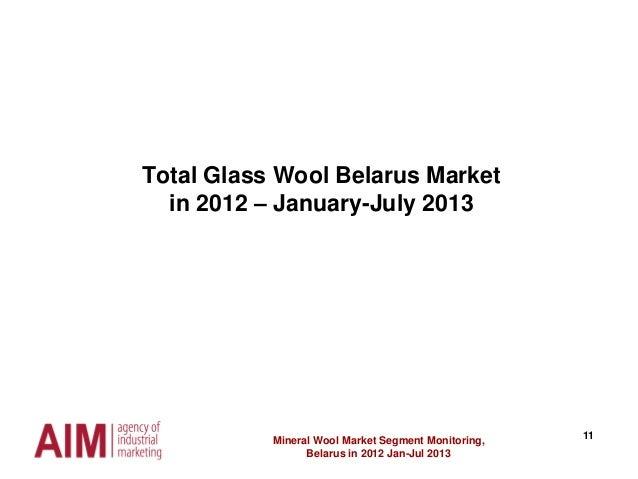 11 Total Glass Wool Belarus Market in 2012 – January-July 2013 Mineral Wool Market Segment Monitoring, Belarus in 2012 Jan...