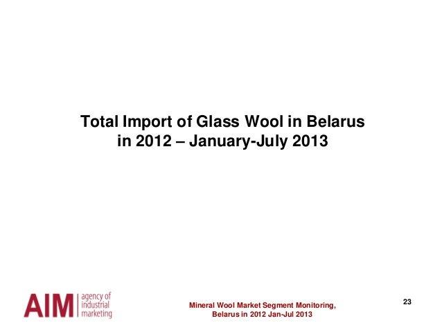 23 Total Import of Glass Wool in Belarus in 2012 – January-July 2013 Mineral Wool Market Segment Monitoring, Belarus in 20...