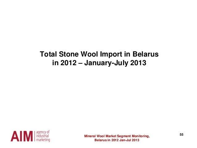55 Total Stone Wool Import in Belarus in 2012 – January-July 2013 Mineral Wool Market Segment Monitoring, Belarus in 2012 ...