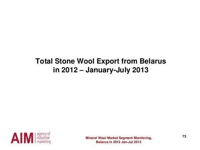 73 Total Stone Wool Export from Belarus in 2012 – January-July 2013 Mineral Wool Market Segment Monitoring, Belarus in 201...