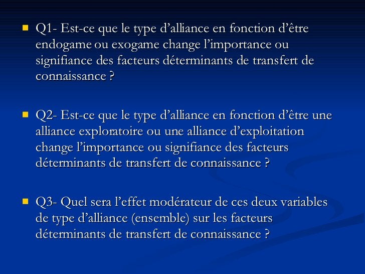 <ul><li>Q1- Est-ce que le type d'alliance en fonction d'être endogame ou exogame change l'importance ou signifiance des fa...