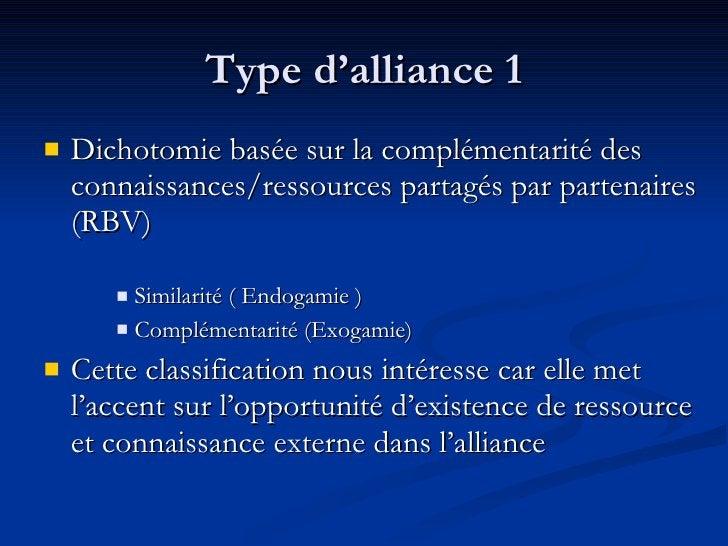 Type d'alliance 1 <ul><li>Dichotomie basée sur la complémentarité des connaissances/ressources partagés par partenaires (R...