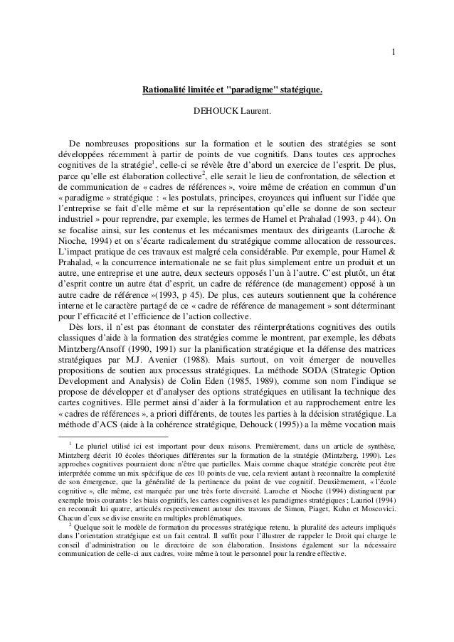 """1 Rationalité limitée et """"paradigme"""" statégique. DEHOUCK Laurent. De nombreuses propositions sur la formation et le soutie..."""